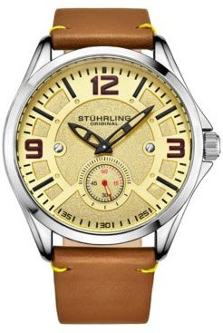 Light Brown Leather Strap Watch 43mm