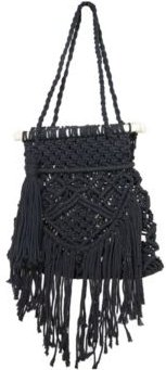 Macrame Medium Bag with Wood Top Bar and Fringe Details