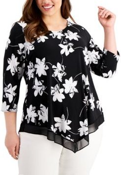 Plus Size Floral-Print Point-Hem Top, Created for Macy's