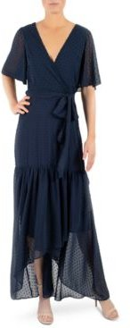 Tie-Belted Chiffon High-Low Maxi Dress