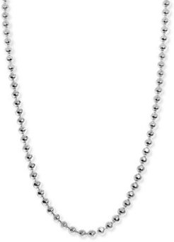 """Beaded Link 14"""" Chain Necklace in Sterling Silver"""