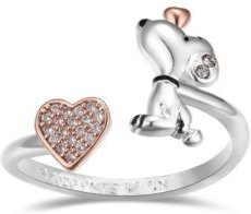 Snoopy and Pave Crystal Heart Bypass Ring