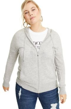 Plus Size Cashmere Zip-Up Hoodie, Created for Macy's