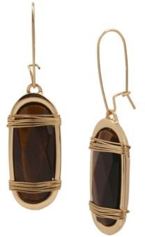 Tiger Eye Wrapped Long Drop Earrings