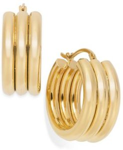 Signature Gold Triple Ribbed Hoop Earrings in 14k Gold over Resin
