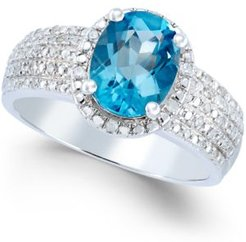 Blue Topaz (2 ct. t.w.) and Diamond (1.8 ct. t.w.) Ring in Sterling Silver
