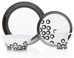 Dinnerware, Circle Chic Black 4 Piece Place Setting