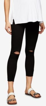Maternity Distressed Black Wash Skinny Jeans