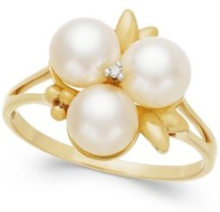 Cultured Freshwater Pearl (6mm) and Diamond Accent Ring in 14k Gold, Created for Macy's