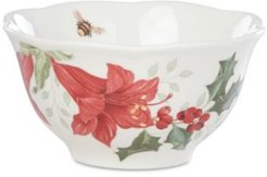 Butterfly Meadow Holiday Rice Bowl Amaryllis Design