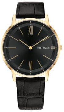 Black Leather Strap Watch 40mm Created for Macy's