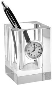Crystal Pencil Holder with Clock