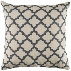 """18"""" x 18"""" Moroccan Tile Pattern Embroidered Down Filled Pillow"""