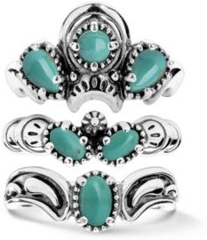 Green Turquoise Three Piece Ring Set in Sterling Silver