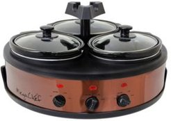 Round Triple 1.5 Quart Slow Cooker and Buffet Server in Brushed Copper and Black Finish with 3 Ceramic Cooking Pots and Removable Lid Rests