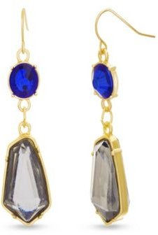 Multicolored Blue And Gray Rhinestone Chain Yellow Gold-Tone Drop Earrings