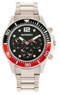 Quartz Pegasus Black and Red Face Multi-Function Silver Alloy Watch 46mm
