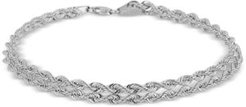 "Twisted Rope ""Heart"" Link Bracelet in 14k White Gold"