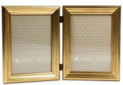 "Hinged Double Sutter Burnished Gold Picture Frame - 5"" x 7"""