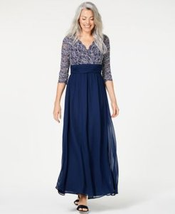 Petite Ruched Glitter Lace Gown
