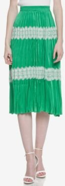 Sunburst Pleated Midi Skirt with Lace Accent