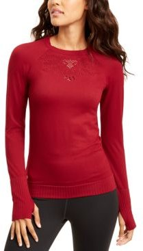 Seamless Perforated Long-Sleeve Top, Created for Macy's