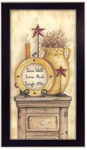 "Words to Live By By Mary June, Printed Wall Art, Ready to hang, Black Frame, 10"" x 18"""