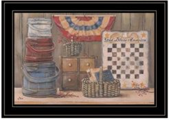 "God Bless America by Pam Britton, Ready to hang Framed Print, Black Frame, 19"" x 15"""