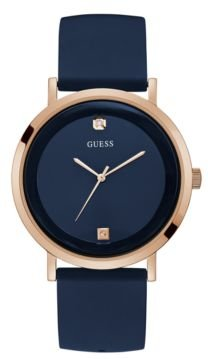 Diamond-Accented Rose Gold-Tone and Blue Watch, 42mm