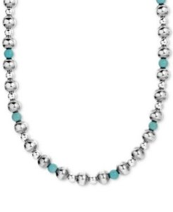 "Turquoise Beaded Necklace in Sterling Silver; 15"" + 2"" Extender"