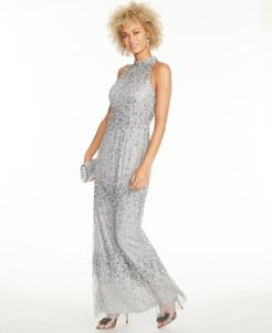 Beaded Halter Column Gown