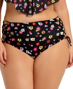 Trendy Plus Size Floral Side-Lace High-Waist Bikini Bottoms, Created for Macy's Women's Swimsuit