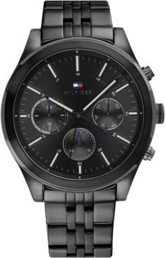 Chronograph Black Stainless Steel Bracelet Watch 44mm, Created for Macy's