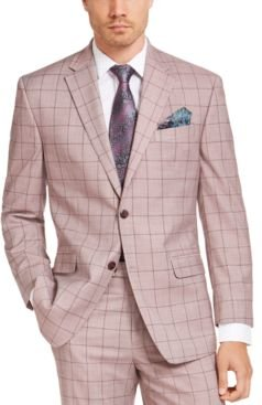 Classic-Fit Light Red Windowpane Suit Jacket