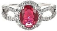 Silver-Tone Ruby Accent Ring