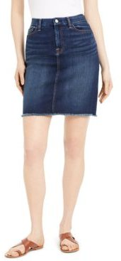 Frayed-Hem Denim Skirt