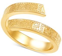 Greek Key Bypass Statement Ring in 10k Gold