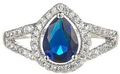 Silver-Tone Sapphire Pear Shaped Ring