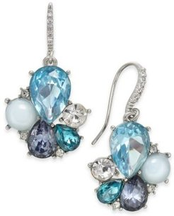 Silver-Tone Stone & Crystal Cluster Drop Earrings, Created For Macy's