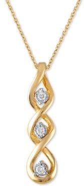 "Diamond Linear Twist 18"" Pendant Necklace (1/10 ct. t.w.) in 10k Gold"