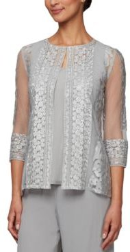 Petite Embroidered Jacket & Top Set