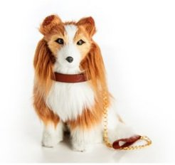 Collie Puppy Dog with Collar and Leash Doll with Pet Accessory