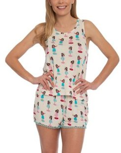 Hula Girl Tank & Shorts Pajama Set, Online Only