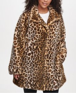 Plus Size Leopard Faux-Fur Coat