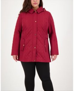 Plus Size Hooded Quilted Coat, Created for Macy's