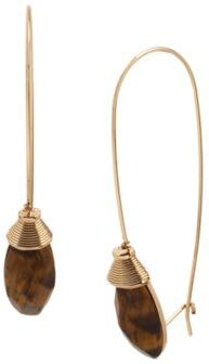 Tiger Eye Long Drop Earrings