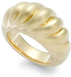 Signature Gold Ribbed Dome Ring in 14k Gold over Resin