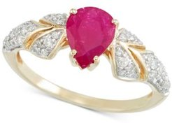 Certified Ruby (7/8 ct. t.w.) and Diamond (1/3 ct. t.w.) Ring in 14k Gold