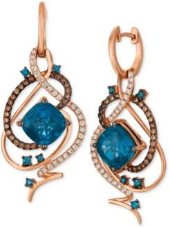 Crazy Collection Deep Sea Blue Topaz (7-1/2 ct. t.w.) & Diamond (1 ct. t.w.) Drop Earrings in 14k Rose Gold