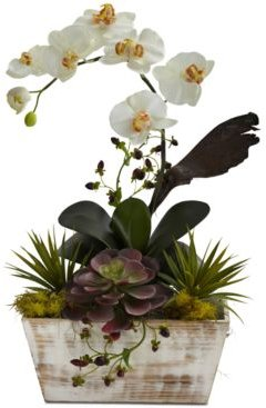 Orchid & Artificial Succulent Garden with White-Washed Planter